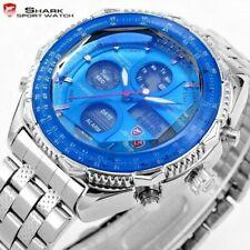 Men's 44mm LCD Digital / Quartz Analog Day Date Blue Dial Stainless Shark Watch