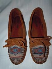MINNETONKA SOFT RUST SUEDE LEATHER-INDIAN PRINT MOCCASIN, 7 M, BARELY WORN! MINT