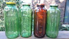 4 Vtg. Prune Juice Glass Bottles w.Lids