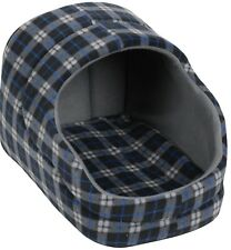 Dog Basket With Hood Tartan Design Black Blue Grey, Medium Small & Large