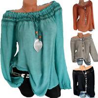 Plus Size Womens Vintage Hollow Off Shoulder Blouse Casual Loose Baggy T-Shirt
