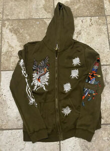 men's vintage ed hardy embroidered full zip hoodie hooded sweatshirt size xl