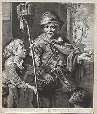 Gravure ancienne. C. Visscher. Rats. 17e Engraving incisione kupferstich 17th