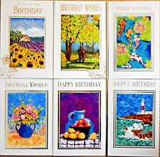 6 Pack of Assorted Male Mens Female Ladies Boys Girls Fine Art Birthday Cards /F