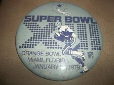 "Jan 21, 1979 Super Bowl XIII Dallas cowboys Jumbo 6"" Pinback Button HAS SPOTS"