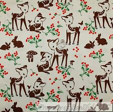 BonEful FABRIC FQ Cotton Quilt White Brown Red Deer Baby Bunny Green Leaf Scenic