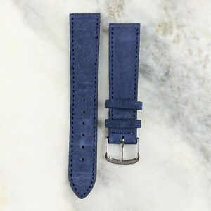 Suede Leather Watch Strap - Navy - 18mm/20mm
