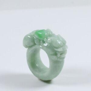 Certified Grade A Natural Emerald Green Jade Jadeite Ring Pixiu USA 11 a4432