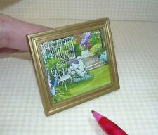 "Miniature ""Garden Retreat"" Picture w/Gold Frame Dollhouse Miniatures 1:12"