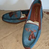 Johnston Murphy Mens Tassel Loafers Size 9.5 M Suede Teal & Brown Italy Colorful