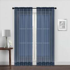 """New ListingLinkHome Solid Voile Sheer Curtain Window Panel Drapes Navy 59""""W x 84""""L New!"""