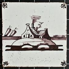 Delft Kachel (Keramische Tegel) - Küstenlandschaft mit Häusern - 18./19.Jh