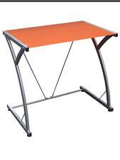 Porta Pc In Vetro Temperato Colore Arancio Struttura Metallo Grigio