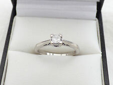 H Samuel 18ct White Gold Princess cut Diamond solitaire ring. 0.25ct sz K - K.5