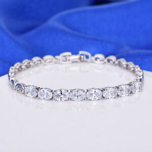 Handmade Classical Oval Cut Natural White Topaz Platinum Plated Charm Bracelets