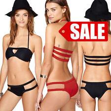Womens Bikini Swimwear Padded Bra Top Bathing Suit Cutout Geometric Swimsuit S-L