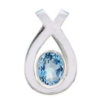 appealing Blue Topaz 925 Sterling Silver Blue Pendant Natural gemstone US gift
