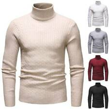Winter Men Knitted Turtle Neck Sweater Casual Slim Fit Warm Pullover Jumper Tops