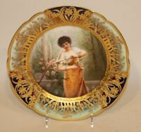 Signed Royal Vienna Beehive Gold Encrusted Portrait Plate No Rose Without Thorns