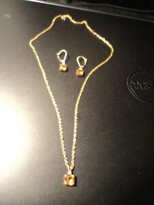Zales 14k Gold Diamond & Citrine November Birthstone Earring & Necklace Set