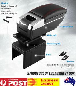 Black Big Armrest Storage Box Car Center Console Arm Rest Universal For Car AU