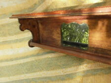 Beautiful Vintage Antique Hand Made Wooden Shelf With Mirror Rustic Design