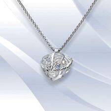 Halskette Ankerkette Anhänger Herz mit Kristallen von Swarovski  Weiß Neu