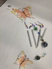 VINTAGE METAL BUTTERFLY WIND CHIME NIB HAND PAINTED GLASS BEADS MADE IN CHINA