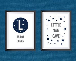 Nursery Prints Boys Bedroom Wall Art Decor Stars Personalised Little Man Cave A4
