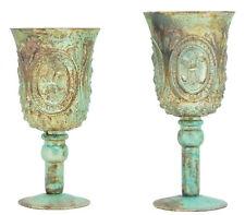 Vase  Teelichthalter Glas  Deko Bauernsilber Shabby   metallic mint 23 cm
