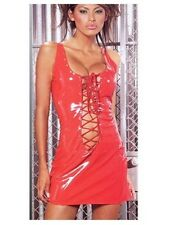 Super Sexy Hot Leather/latex look lace up mini dress - pole dancer fantasy 7036
