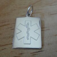Sterling Silver 27x16mm 3 gram Engraveable Medical Alert ID 1mm thick Charm!