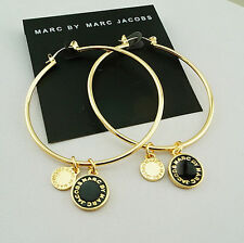 HOT MARC BY MARC JACOBS CIRCLE SERIES GOLD LETTERS BLACK DISC EARRINGS #E0155