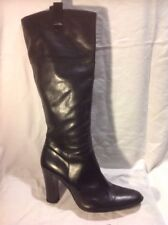 Bertie Black Knee High Leather Boots Size 40