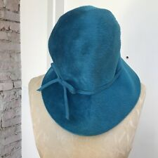 Vintage Hat Italian Blue Wool Hign Crown w Bow Size 7