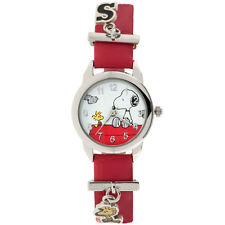NEW PEANUTS Snoopy And Woodstock Silvertone Watch - Vinyl Band & Dangling Charms