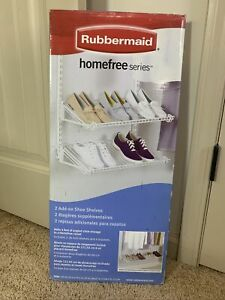 Rubbermaid Homefree Closet Wire Shoe Organize Storage Shelf Kit, White (2 Pack)