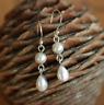 Handmade 925 Sterling Silver Double Freshwater Pearl Drop/Dangle Earrings