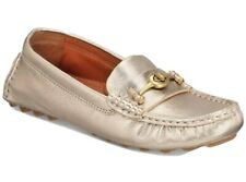 New Coach Crosby Driver turnlock flats Champagne loafers leather rubber sole