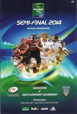 Saracens v Clermont Auvergne 26 Apr 2014 Heineken Cup semi-final RUGBY PROGRAMME