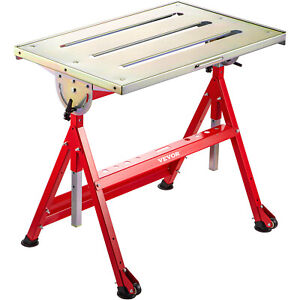 VEVOR Adjustable Steel Welding Table Strong Hold Industrial Bench 30 x 20 Inches