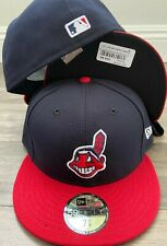 New Era Cap 59FIFTY Cleveland Indians on field NAVY RED 2 tone Hat Fitted 5950