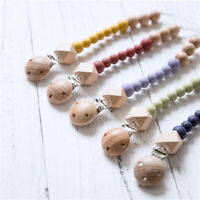 Baby Pacifier Clip Chain Beech Wooden Round Silicone Beads Teether Teething Toys