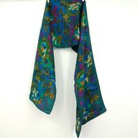 Vintage HB Silk Scarf Teal Blue Green Pink Mustard Yellow Floral Long Wrap NOTE