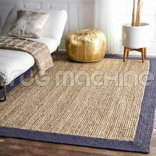 Iguazu Natural Woven Jute Navy Braided Floor Rug - 3 Sizes DELIVERY