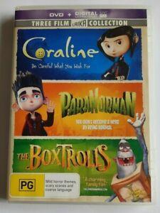 Coraline + ParaNorman + The BoxTrolls - 3 Disc Kids PAL DVD R4 VGC
