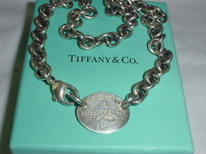 "PLEASE RETURN TO TIFFANY STERLING SILVER OVAL TAG NECKLACE-15"" LONG!"