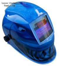 AUTO DARKENING WELDING HELMET WELDERS MASK Solar Powered BLUE SHARK** Design