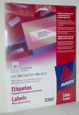 """AVERY #5260 750 White Address Laser Labels 1x2 5/8"""" New With Fast Free Shipping!"""