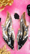 0174 Black Appliques Flames of Fire Mirror Pair Sequin Beaded Sewing Craft 7""